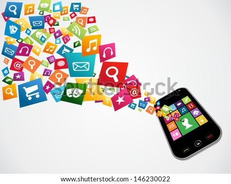 Mobile computer apps icon set concept background.