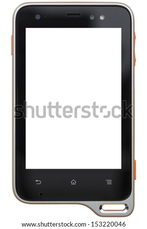 Mobile device with blank screen isolated on white background - stock photo