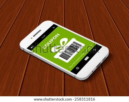 mobile phone with discount coupon lying on wooden table - stock photo
