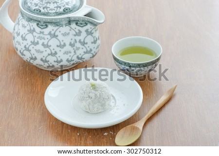 Mochi, Japanese confectionery Served with matcha green tea - stock photo