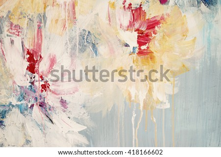 Modern abstract colorful background. Acrylic on canvas.  Fragment of artwork.  Floral style          - stock photo