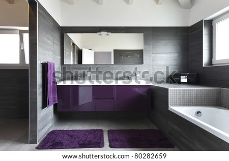 modern architecture contemporary,  interior, bathroom - stock photo