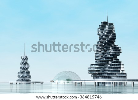 Modern building on the artificial island on water. Future architecture.