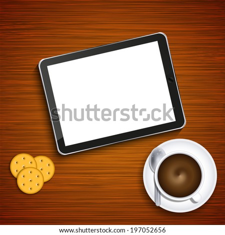 modern business background. Computer tablet with coffee and crackers on wood - stock photo