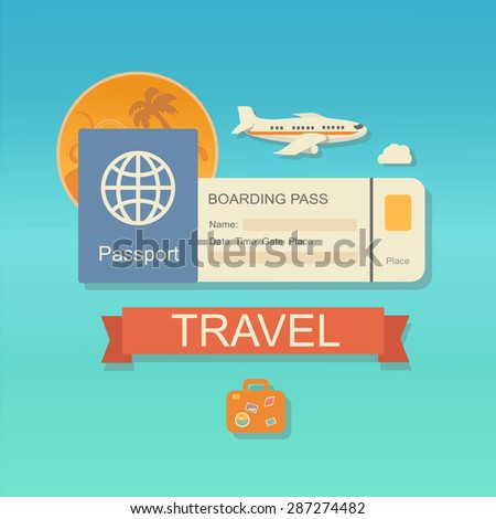 modern flat design web icon on airline tickets and travel with jet airliner flying, passport, boarding pass ticket  and travelling bag - stock photo