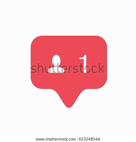 modern follow pink icon isolated on white background. - stock photo