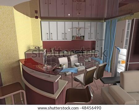 modern kitchen interior 3d rendering - stock photo