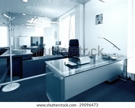 modern office interior design photo - stock photo
