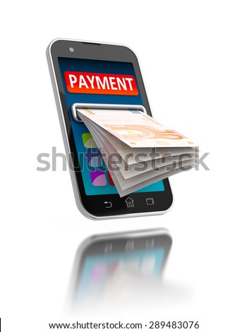 Modern smartphone with banknote on white. Mobile payments concept illustration.