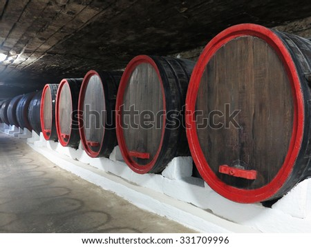03.10.2015, MOLDOVA, CRICOVA. Old traditional wine cellar underground with big wooden barrels - stock photo