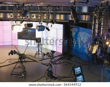 "13.04.2014, MOLDOVA, ""Publika TV"" NEWS studio with light equipment ready for recordind release. - stock photo"