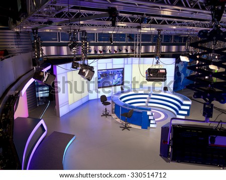05.04.2015, MOLDOVA, TV NEWS studio with light equipment ready for recordind release - stock photo