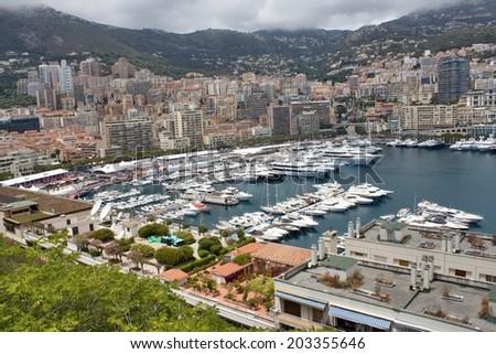 MONACO, JUNE 26, 2014: view of marina. Cote d'Azur, dock luxury yacht visitors to the Principality of Monaco - stock photo