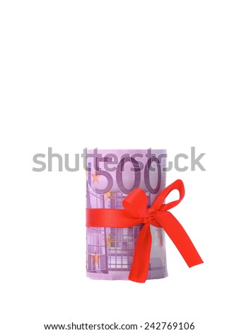 money five hundred euros tied around with a red ribbon bow isolated on white background - stock photo