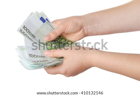 Money in female hands isolated on white background
