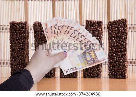 money in hand - stock photo