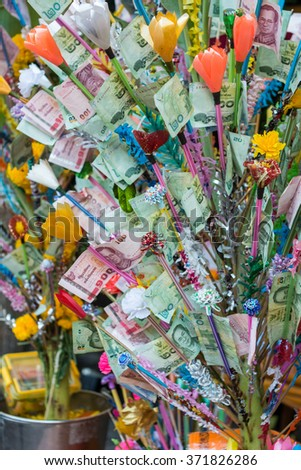 """Money tree at a traditional Buddhist ceremony, """" kathin """"offerings made to all the priests in a temple - stock photo"""