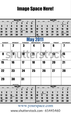 5 month 2011 calendar, May, with copy space and text space. Page one of 12 - stock photo