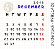 2013 monthly calendar December 2013 with Sagittarius zodiac sign stamp - stock vector