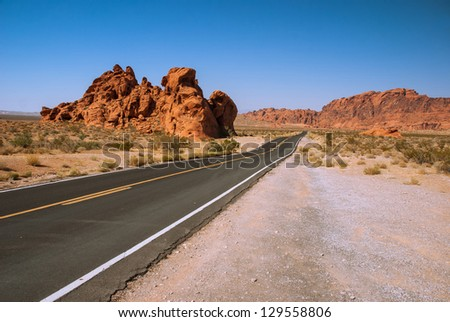 Morning landscape in the Valley of Fire, Nevada, USA - stock photo