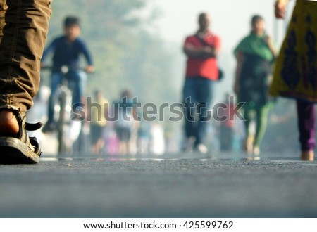 Morning walk on free road, India                              - stock photo