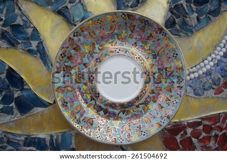 Mosaic art on the wall in thai  temple - stock photo