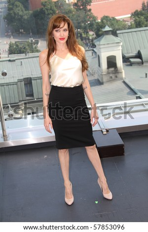 MOSCOW, RUSSIA - JULY 25: US actress Angelina Jolie poses for a photocall on the roof of Ritz hotel in on July 25, 2010 in Moscow, Russia - stock photo