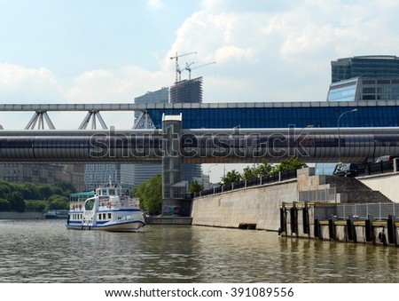 "MOSCOW, RUSSIA - MAY 24, 2014:The boat ""Jung"" on the Moscow river."