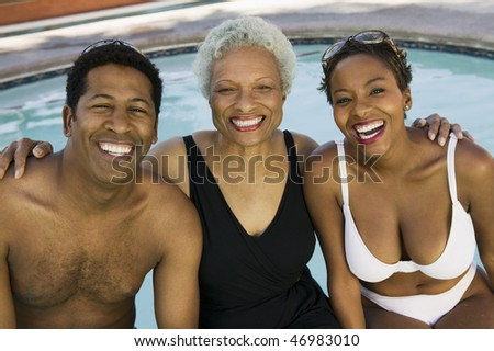 """Mother, Son and Daughter-in-law on Vacation"" - stock photo"