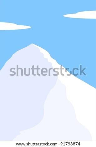 Mount Everest, South Col - highest peak of world - Himalayas, Nepal, Tibet, China - mountain landscape  illustration - stock photo