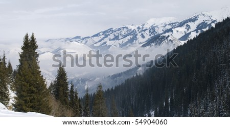 mountains in the winter - stock photo