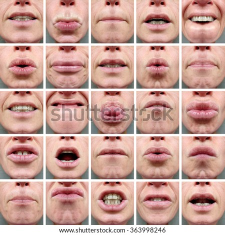 25 MOUTH EXPRESSIONS - stock photo