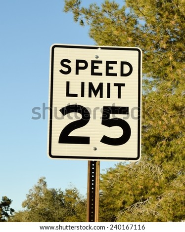 25 mph speed limit sign - stock photo
