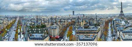 44 mpx Panoramic view of Paris from the Arc de Triomphe. Autumn. Rain. Sun. - stock photo