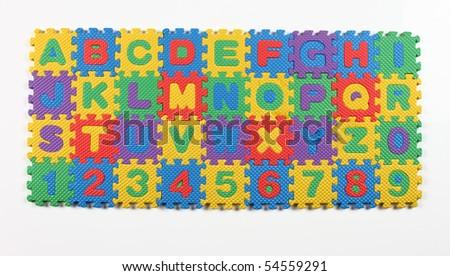 multi colored alphabet puzzle - stock photo