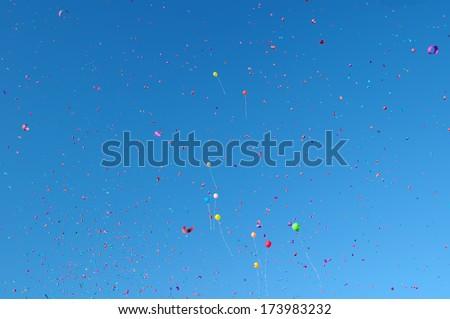 multicolored balloons and confetti in the city festival#12 - stock photo