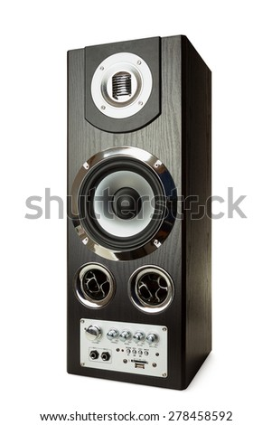 Music speaker isolated on a white background with clipping path - stock photo