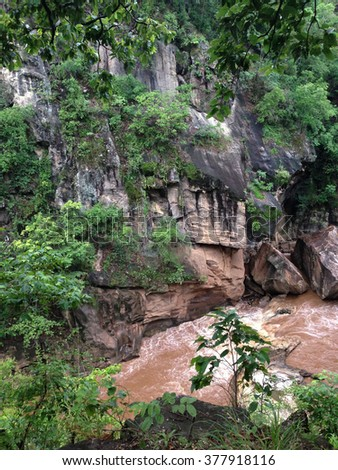National Park is a national park in Chiang Mai Province, Thailand. It is home to a scenic river canyon, waterfalls and caves. - stock photo