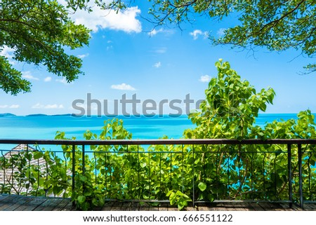 Natural Frame Trees Steel Fence Overlooking Stock Photo (Download ...