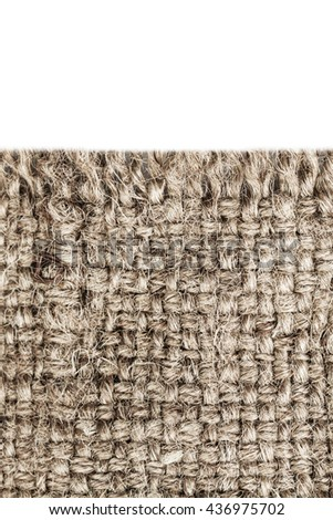 Natural Textile isolated over white / Canvas Fabric Textured Background.
