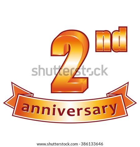 2nd anniversary. Golden label.  - stock photo
