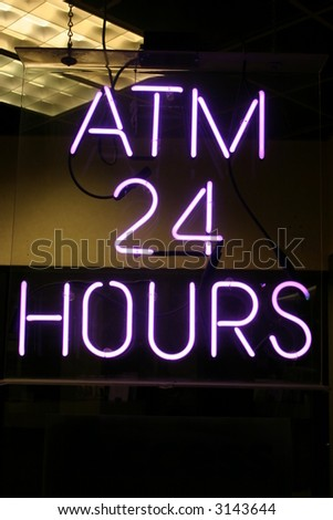 """neon sign series"" ""atm 24 hours"" - stock photo"