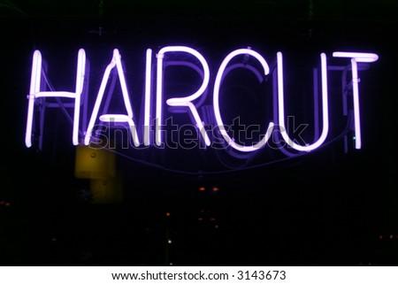"""neon sign series"" haircut - stock photo"