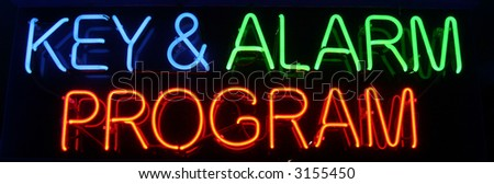 """neon sign"" series ""key & alarm program"""
