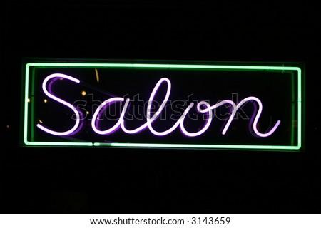 """""""neon sign series"""" salon - stock photo"""