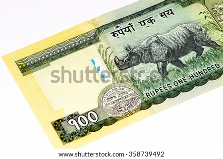 100 Nepalese rupee bank note. Nepalese rupee is the national currency of Nepal