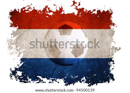 Netherlands rip flag with football background for Euro 2012 on vintage old paper background - stock photo
