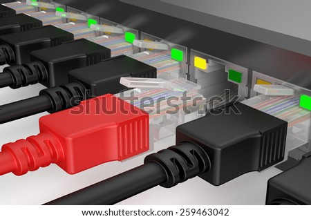network cables, internet concept isolated on white background - stock photo