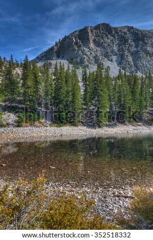 Nevada-Great Basin National Park-Alpine Lakes Trail. Autumn in Great Basin is a most colorful yearly natural event, which makes the spectacular scenery even more magnificent. - stock photo