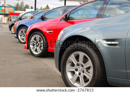 new cars for sale - stock photo